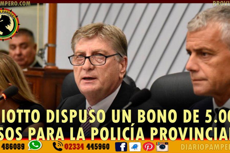 Ziliotto dispuso un bono de 5.000 pesos para la Policía provincial