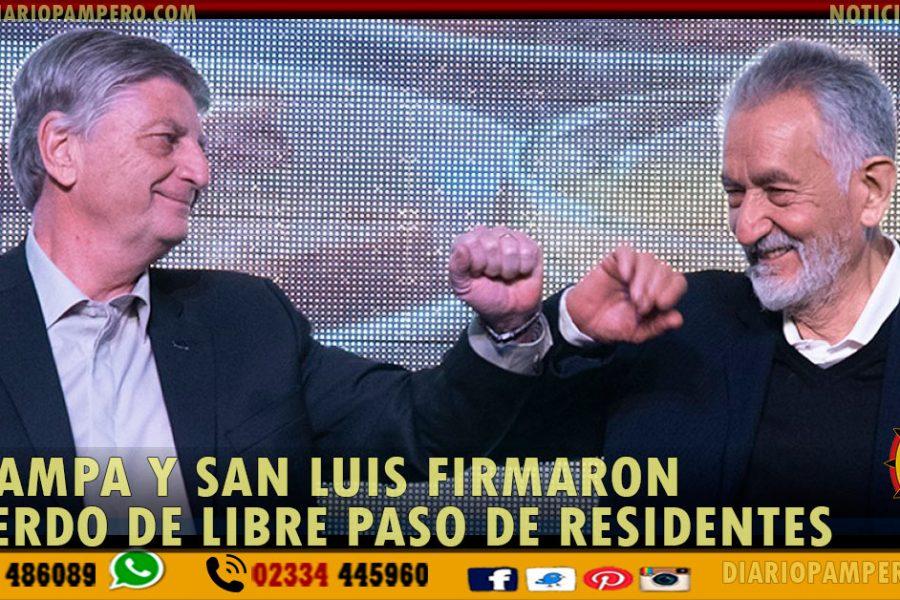 La Pampa y San Luis firmaron acuerdo de libre paso de residentes