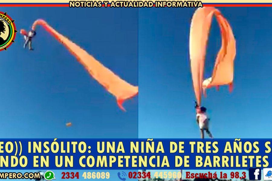 ((VIDEO)) INSÓLITO: una niña de tres años salió volando en un competencia de barriletes