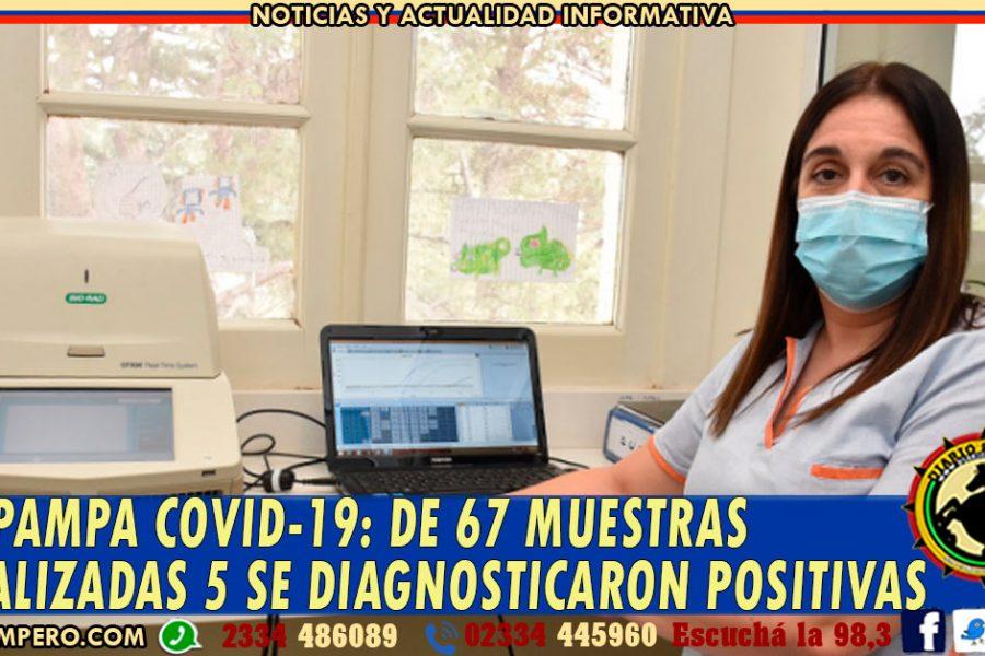 LA PAMPA COVID-19: de 67 muestras analizadas 5 se diagnosticaron positivas