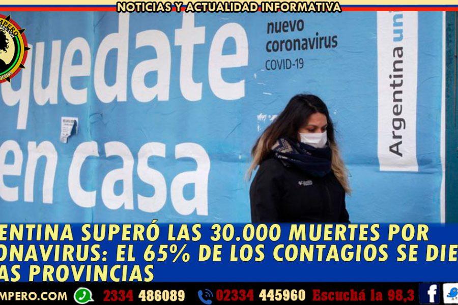 REPORTE NACIONAL COVID 19: Argentina superó las 30.000 muertes por coronavirus: el 65% de los casos en las provincias