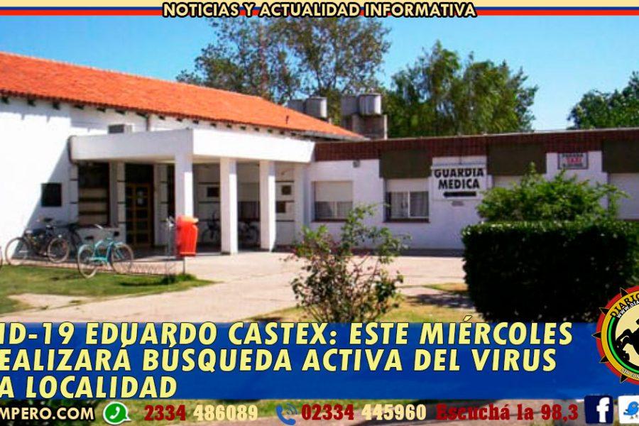 COVID-19 EDUARDO CASTEX: este miércoles se realizará Búsqueda Activa del Virus en la localidad