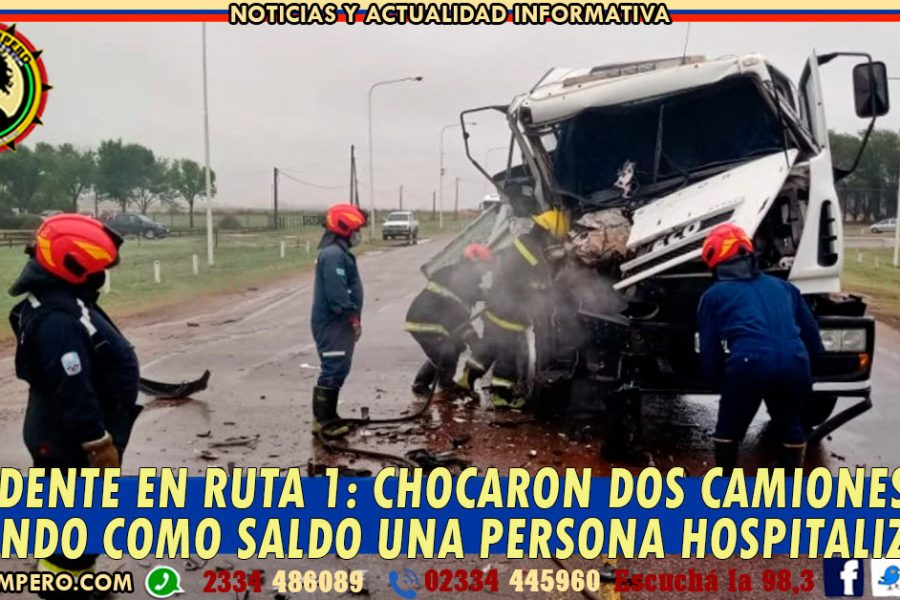 ACCIDENTE EN RUTA 1: chocaron dos camiones dejando como saldo una persona hospitalizada