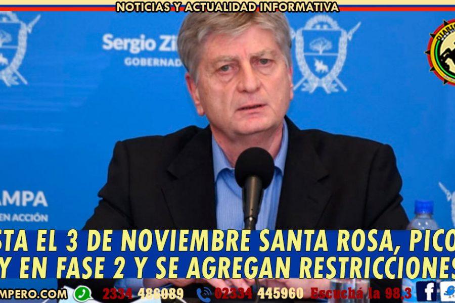 Hasta el 3 de noviembre Santa Rosa, Pico y Toay en Fase 2 y se agregan restricciones