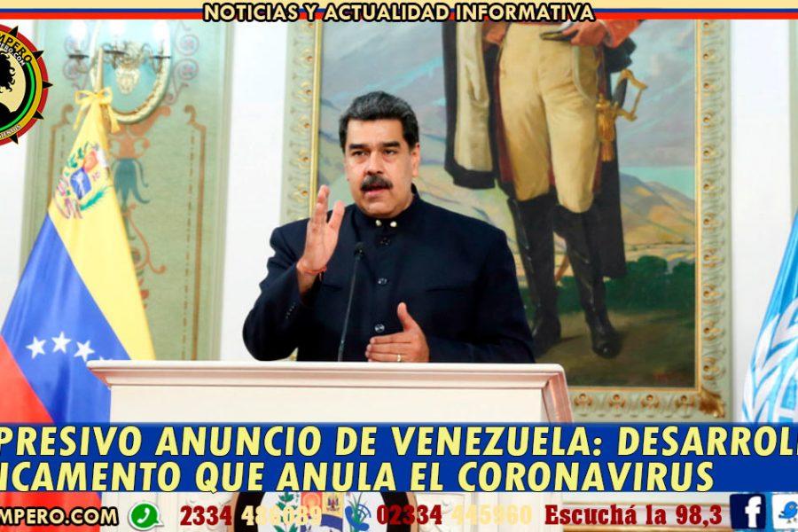 SORPRESIVO ANUNCIO DE VENEZUELA: desarrollan medicamento que anula el coronavirus