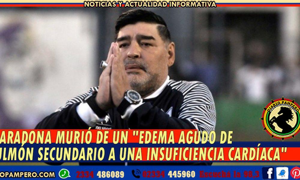 Maradona murió de un «edema agudo de pulmón secundario a una insuficiencia cardíaca»