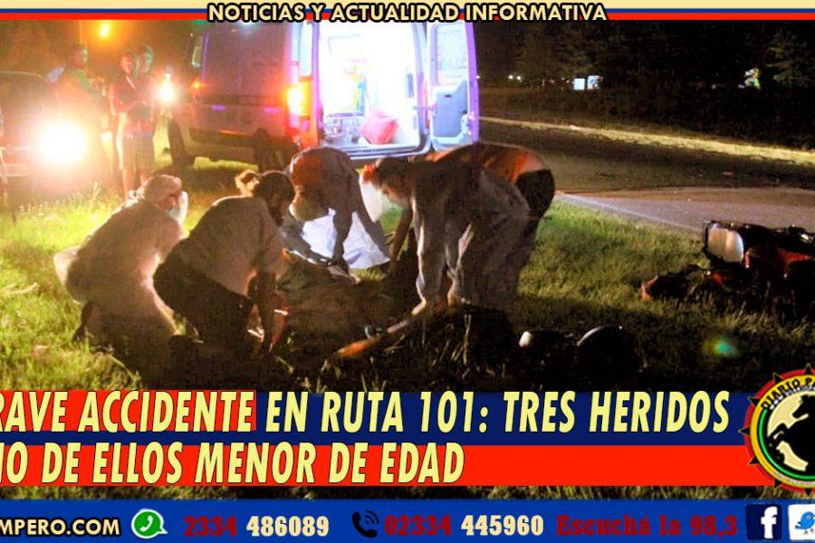 GRAVE ACCIDENTE EN RUTA 101: tres heridos uno de ellos menos de edad