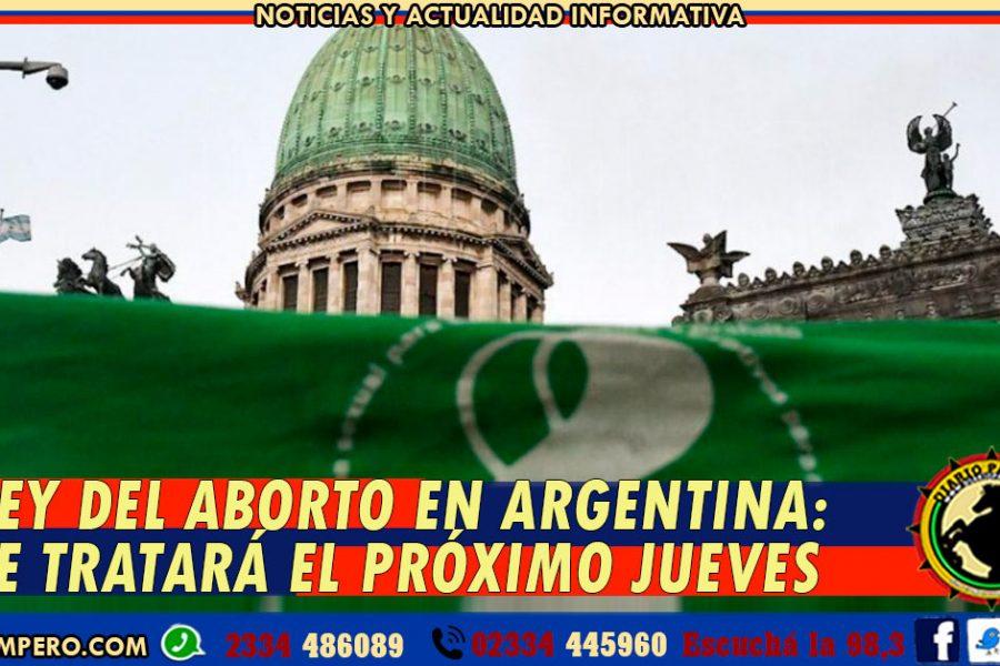 LEY DEL ABORTO EN ARGENTINA: se tratará el próximo jueves