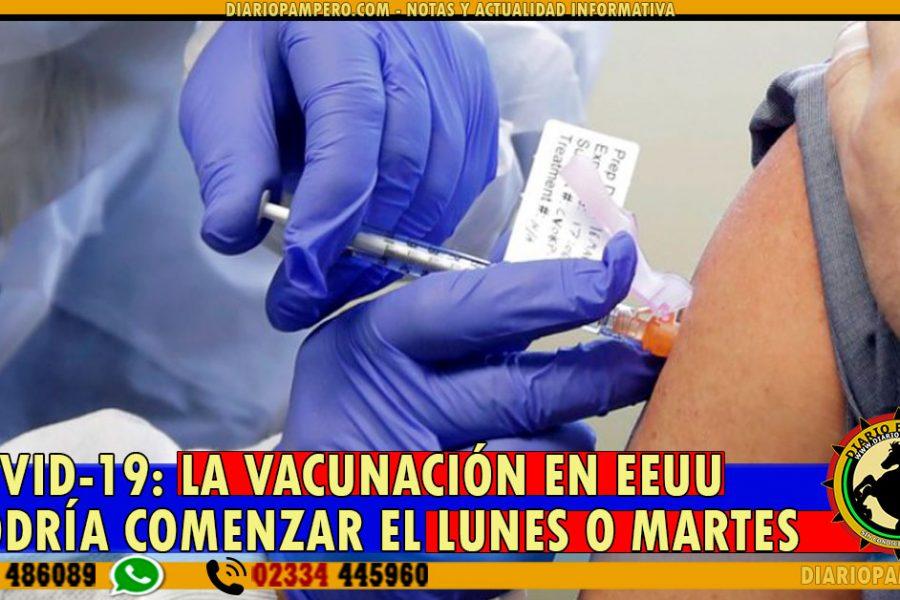 COVID-19: La vacunación en EEUU podría comenzar el lunes o martes