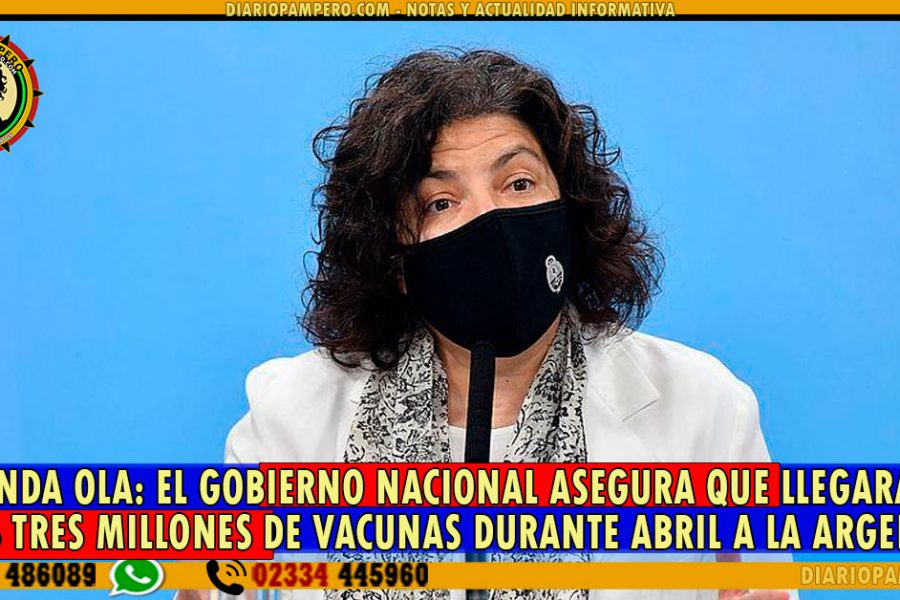SEGUNDA OLA: El gobierno nacional asegura que llegarán unas tres millones de vacunas durante abril a la Argentina