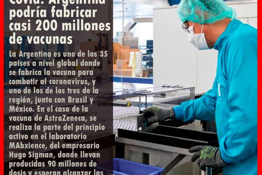 Covid: la Argentina podría fabricar casi 200 millones de vacunas