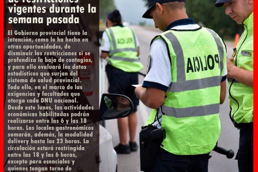 LA PAMPA: Mañana se regresa al sistema de restricciones vigentes durante la semana pasada