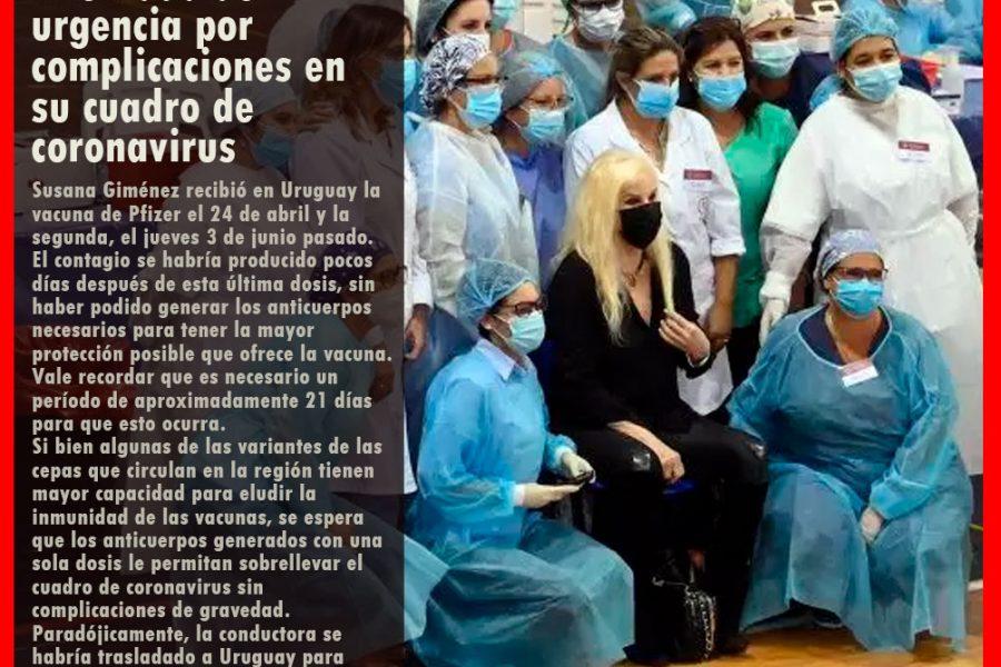 SUSANA GIMÉNEZ: internada de urgencia por complicaciones en su cuadro de coronavirus