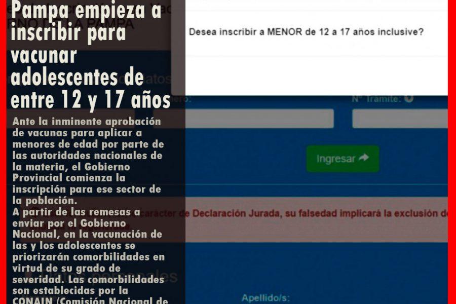 El Gobierno de La Pampa empieza a inscribir para vacunar adolescentes de entre 12 y 17 años