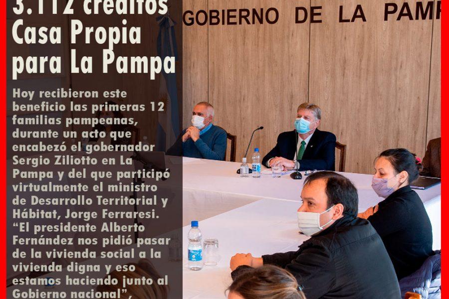 3.112 créditos Casa Propia para La Pampa