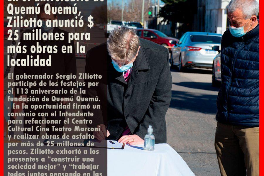 En el aniversario de Quemú Quemú, Ziliotto anunció $ 25 millones para más obras en la localidad