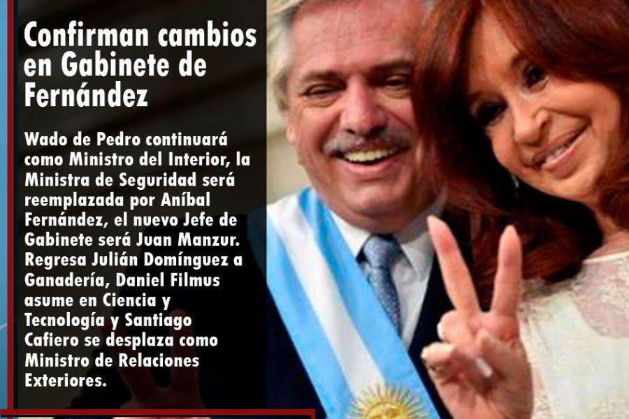 Confirman cambios en Gabinete de Fernández