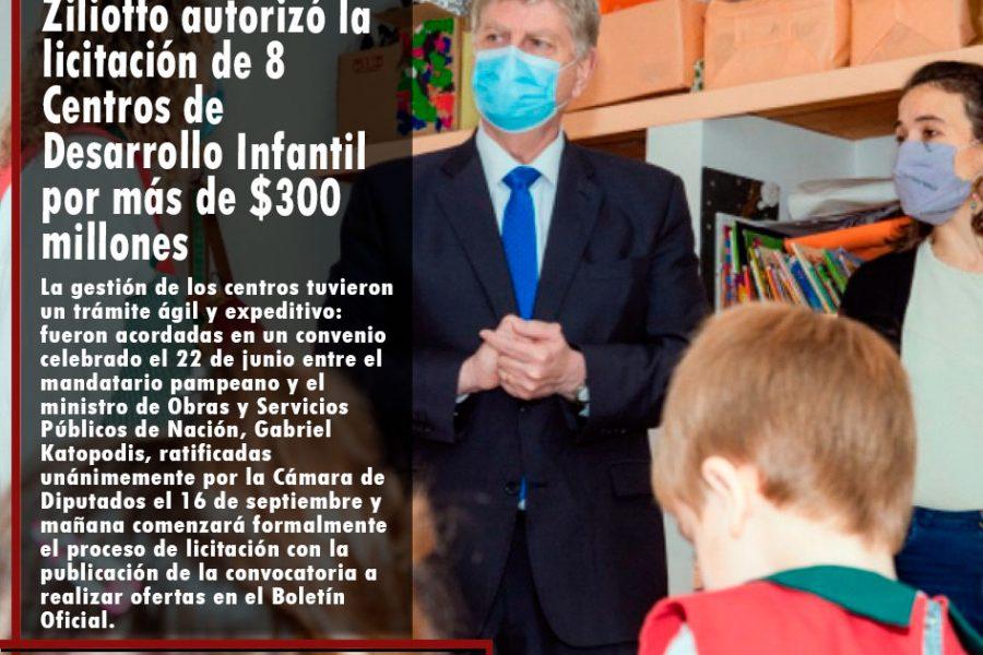 Ziliotto autorizó la licitación de 8 Centros de Desarrollo Infantil por más de $300 millones