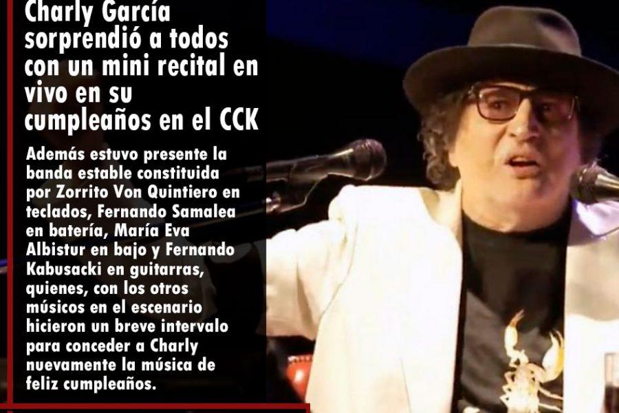 Charly García sorprendió a todos con un mini recital en vivo en su cumpleaños en el CCK