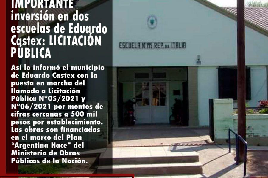 IMPORTANTE inversión en dos escuelas de Eduardo Castex: LICITACIÓN PÚBLICA
