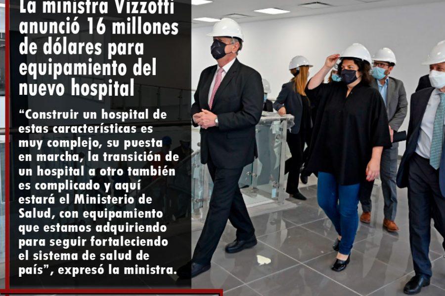 La ministra Vizzotti anunció 16 millones de dólares para equipamiento del nuevo hospital